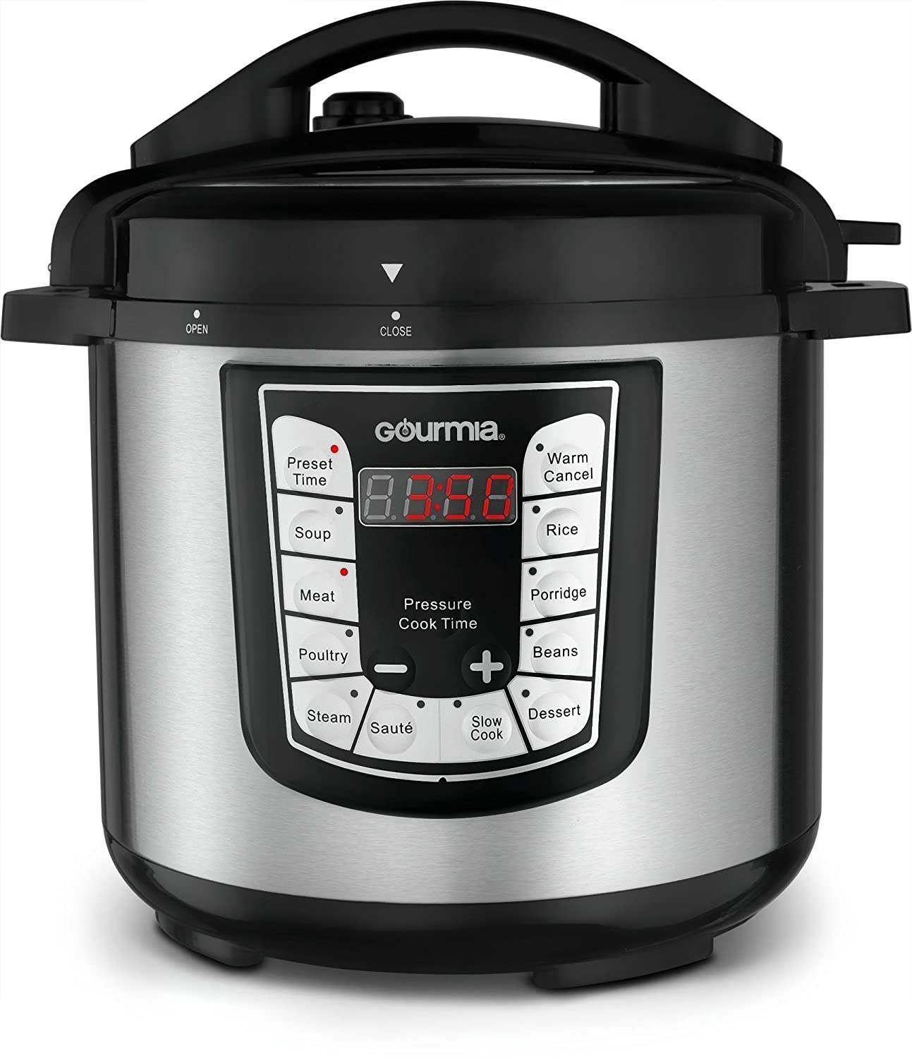 Gourmia GPC625 6 Qt Multi-Mode SmartPot Pressure Cooker | 13 Cook Modes | Removable Nonstick Pot | 24-Hour Delay Timer | Automatic Keep Warm | LCD Display | Pressure Sensor Lid Lock | Recipe Book