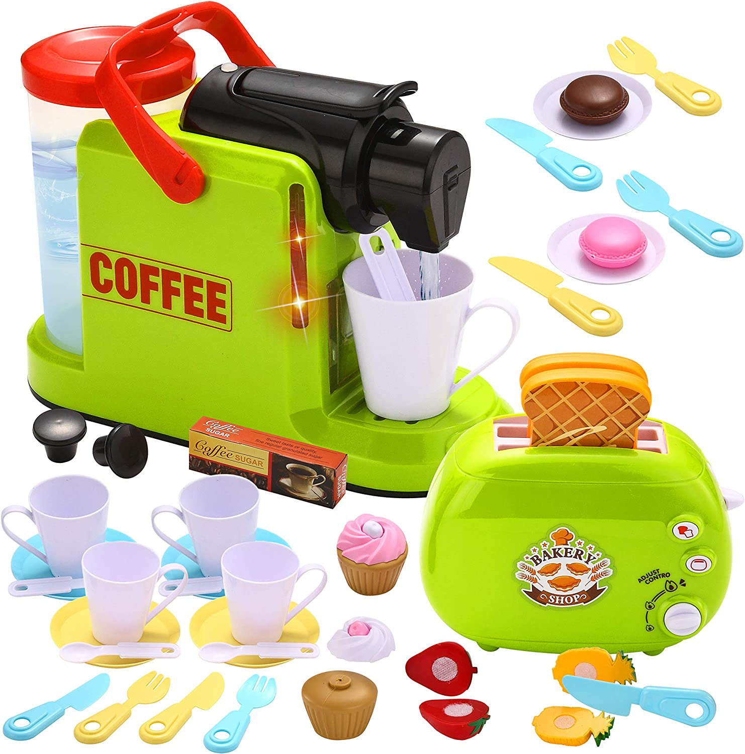 JOYIN 36 Pieces Kids Play Kitchen Accessories with Toy Coffee Maker and Toaster Machine Kitchen Pretend Food Play Set Toys for Toddlers