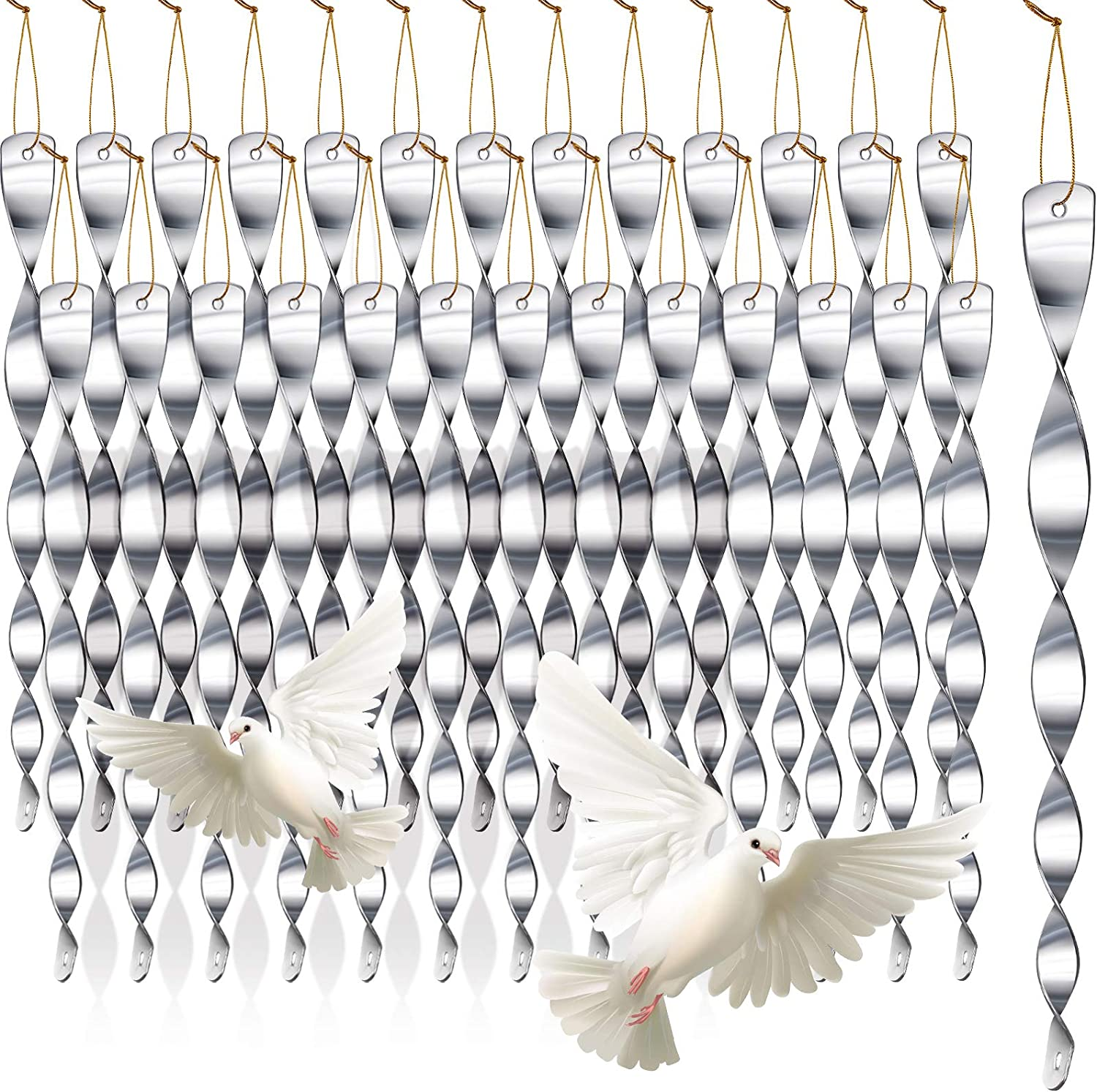 YoungJoy 30 Pcs Reflective Scare Rods Wind Twisting Spiral Deterrent Device Hanging Reflectors (Silver, 30 Pcs)