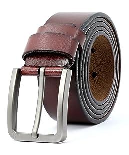 3ZHIYI Ceinture homme en cuir avec boucle d'ardillon ceinture Simple exquis ceinture chic Largeur 3.8cm (Marron-01, Medium-120)