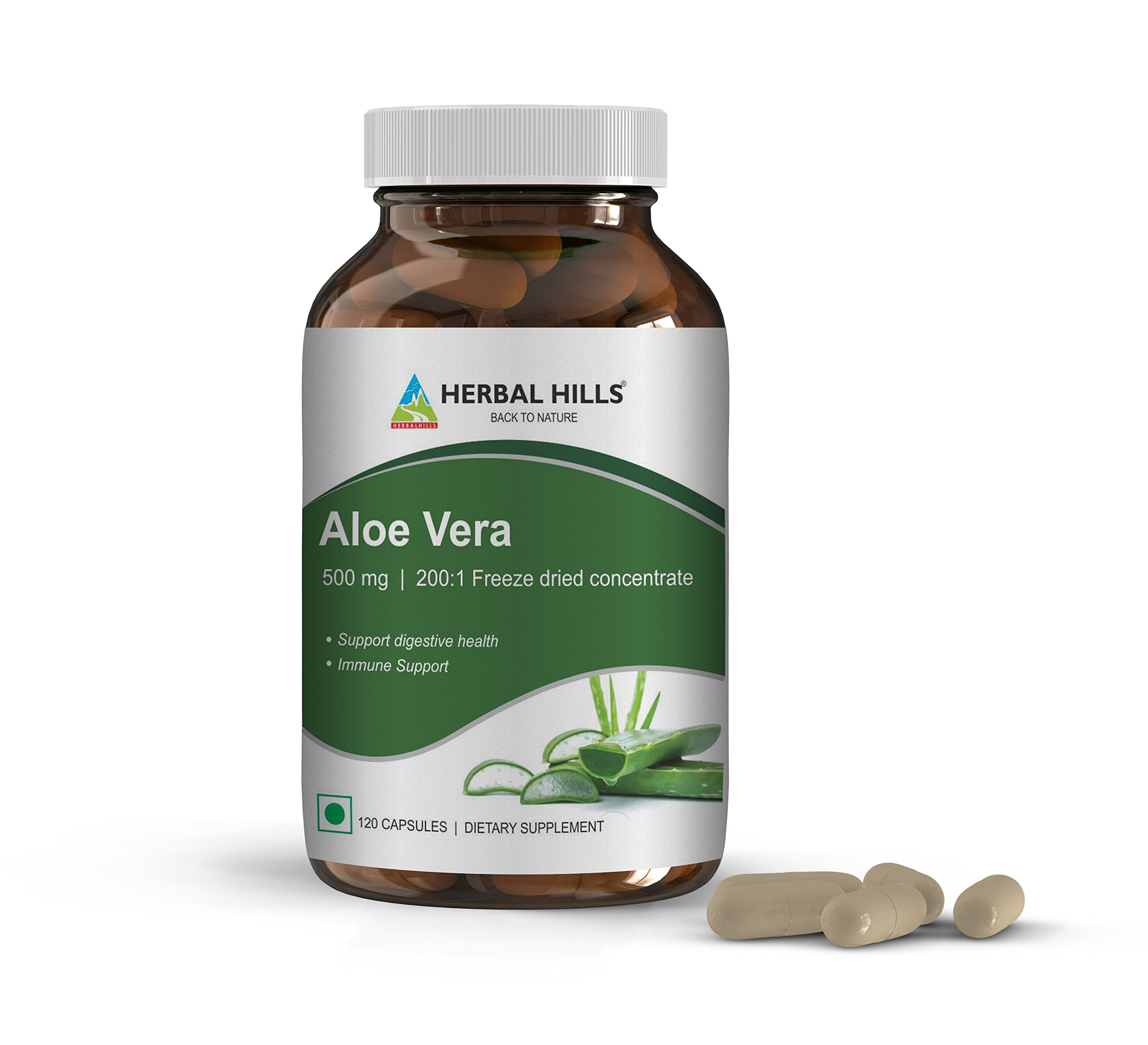 Herbal Hills Aloe Vera Capsules with Natural Aloe, Pure Aloe Freeze Dried Powder Supplement, high Concentration, Veggie 120 Aloe Vera Pills