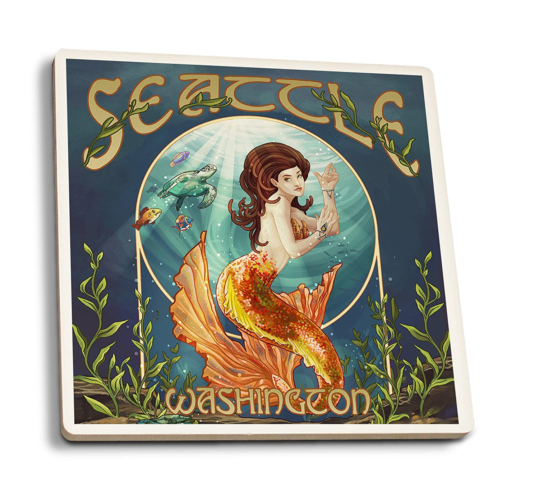 史上最も激安 シアトル 36、ワシントン – マーメイドシーン Set 24 x 36 Giclee Print Print LANT-48191-24x36 B0192R7AM2 4 Coaster Set 4 Coaster Set, ECOダイレクト:4b81b69a --- mail.afisc.net