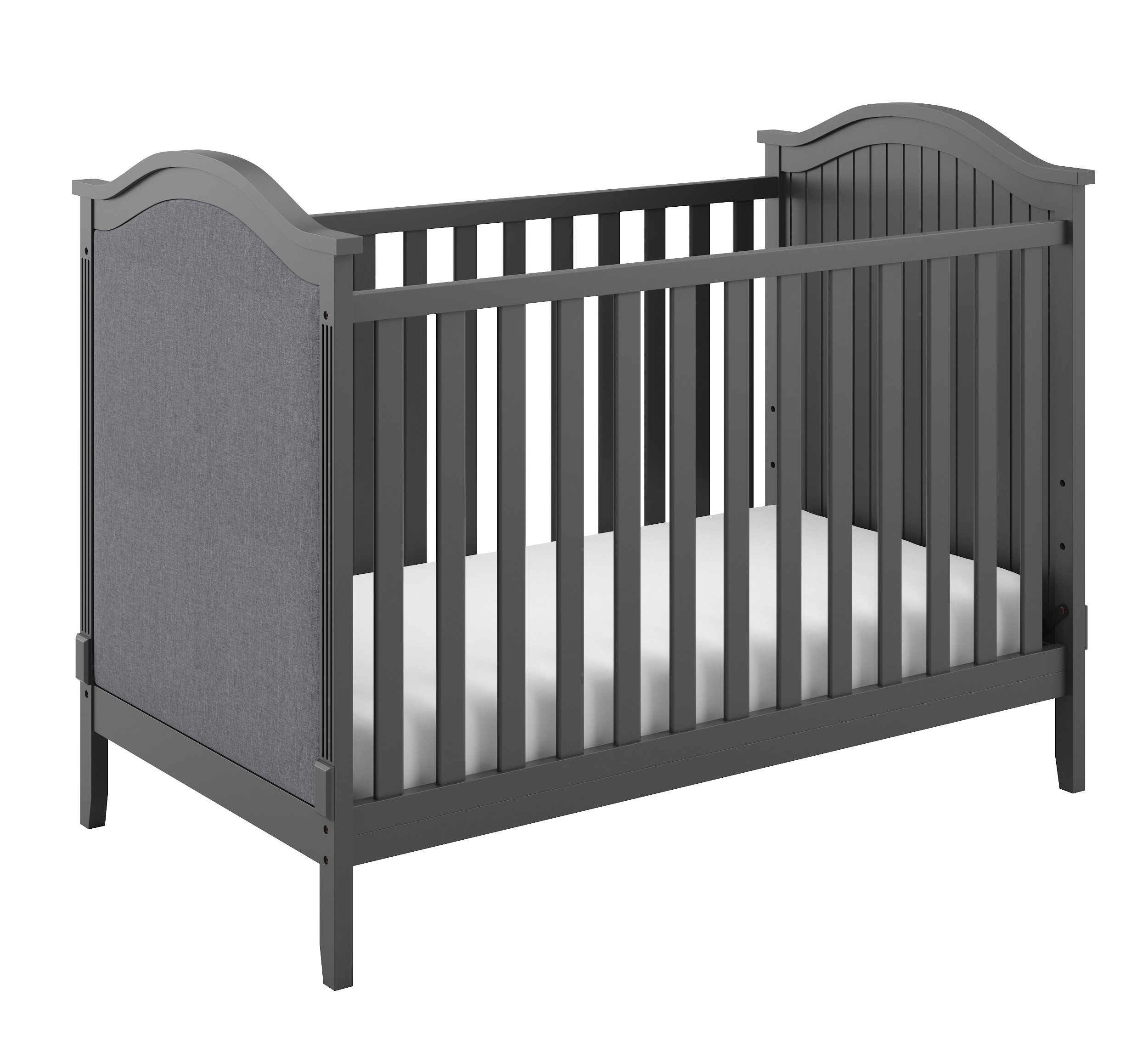 Storkcraft Rosehill Upholstered 3-in-1 Convertible Crib, Gray/Gray, Easily Converts to Toddler Bed or Day Bed Three Position Adjustable Height Mattress (Mattress Not Included) by Storkcraft