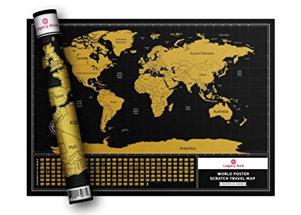 Legacy Axis Scratch Off Map Personalised Multi Colour World Map