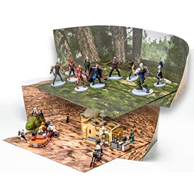 Pine Forest and Desert Backdrop Compatible with LEGO Action Figures Play; Double-sided Dioramas: Twice The Value; Great For Engaging Imagination, Make Stop-motion Movies; Landscape SINGLE Pack: Toys & Games