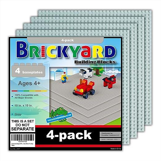Improved Design 10 x 10 Inches Large ... Brickyard Building Blocks 8 Baseplates