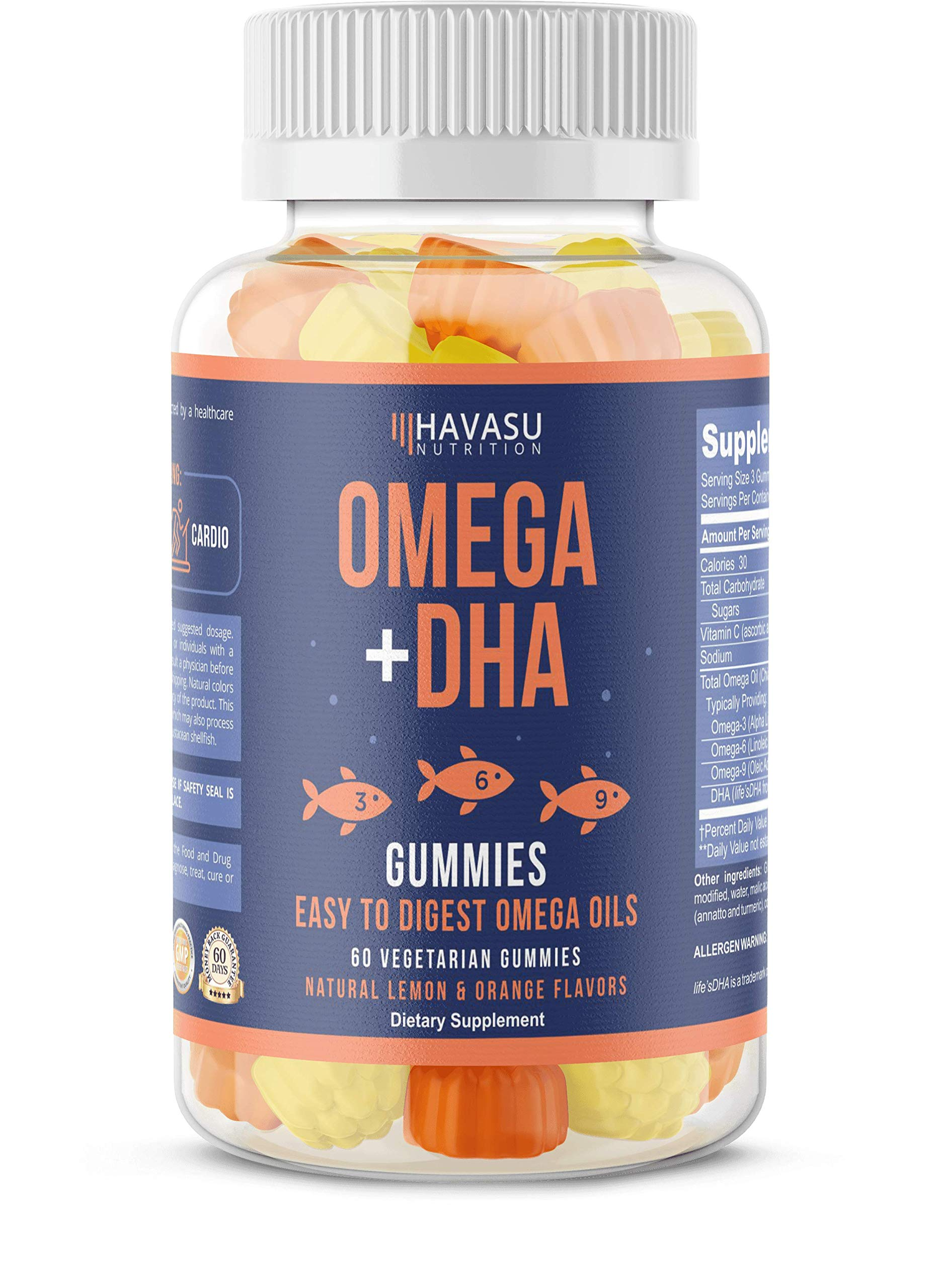 Havasu Nutrition Omega + DHA Gummies to Support Brain, Joint & Cardiovascular Health - Aids Vision and Immune Health, Non-GMO, Gelatin-Free, Plant Based Oils, Natural Flavors, 60 Vegetable Gummies by Havasu Nutrition
