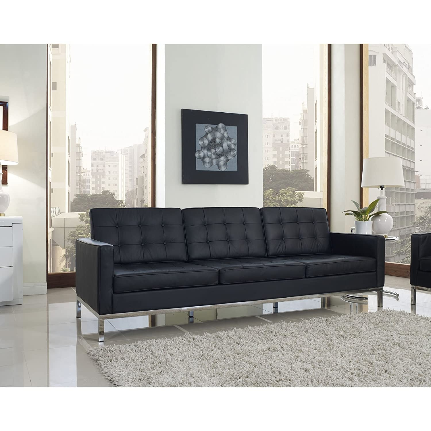 Modern black sofas - Amazon Com Modway Florence Style Sofa In Black Genuine Leather Kitchen Dining