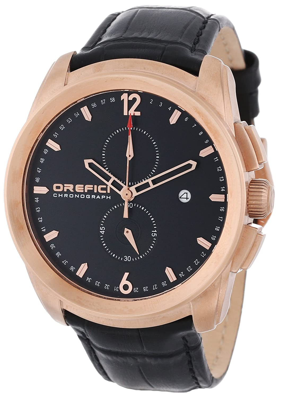 Orefici ORM8C4403 Herren Schwarz Lederband Schwarz Zifferblatt Chronograph Slim Classy Sleek Watch