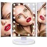 【Thanksgiving sale】HAMSWAN specchio trucco illuminato a LED Pieghevole Che Consente 180 Gradi di Rotazione, è Capace di Ingrandire 1X 2X 3X. Migliorare la tua Bellezza Direttamente a Casa Tua
