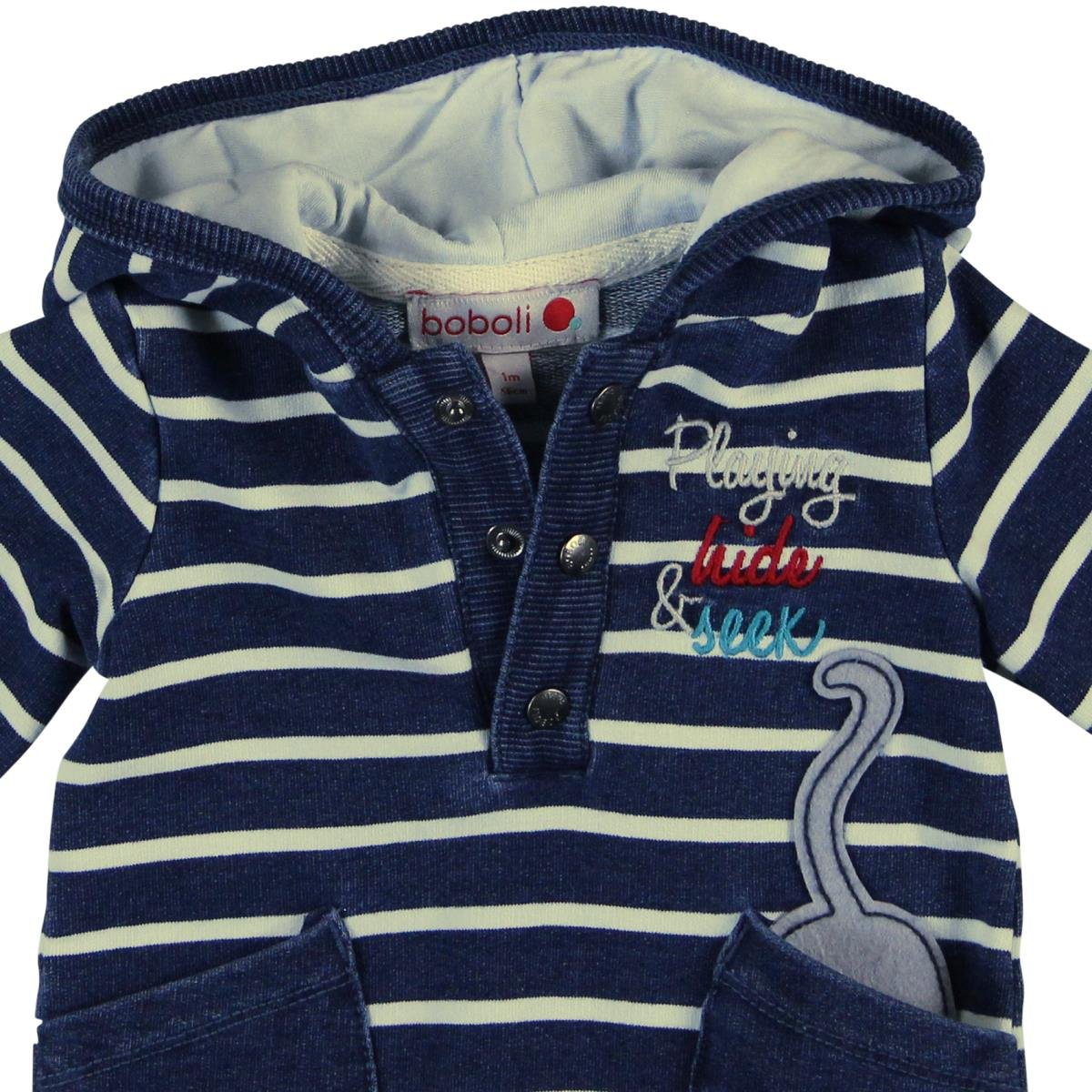 Boboli Unisex Spieler Fleece Play Suit Denim for Baby