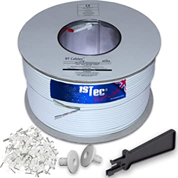 pair telephone or fttc broadband extension wire + 2 grommets + idc  insertion tool + 3 5mm clips + printed colour code instructions (200 metre,  white)