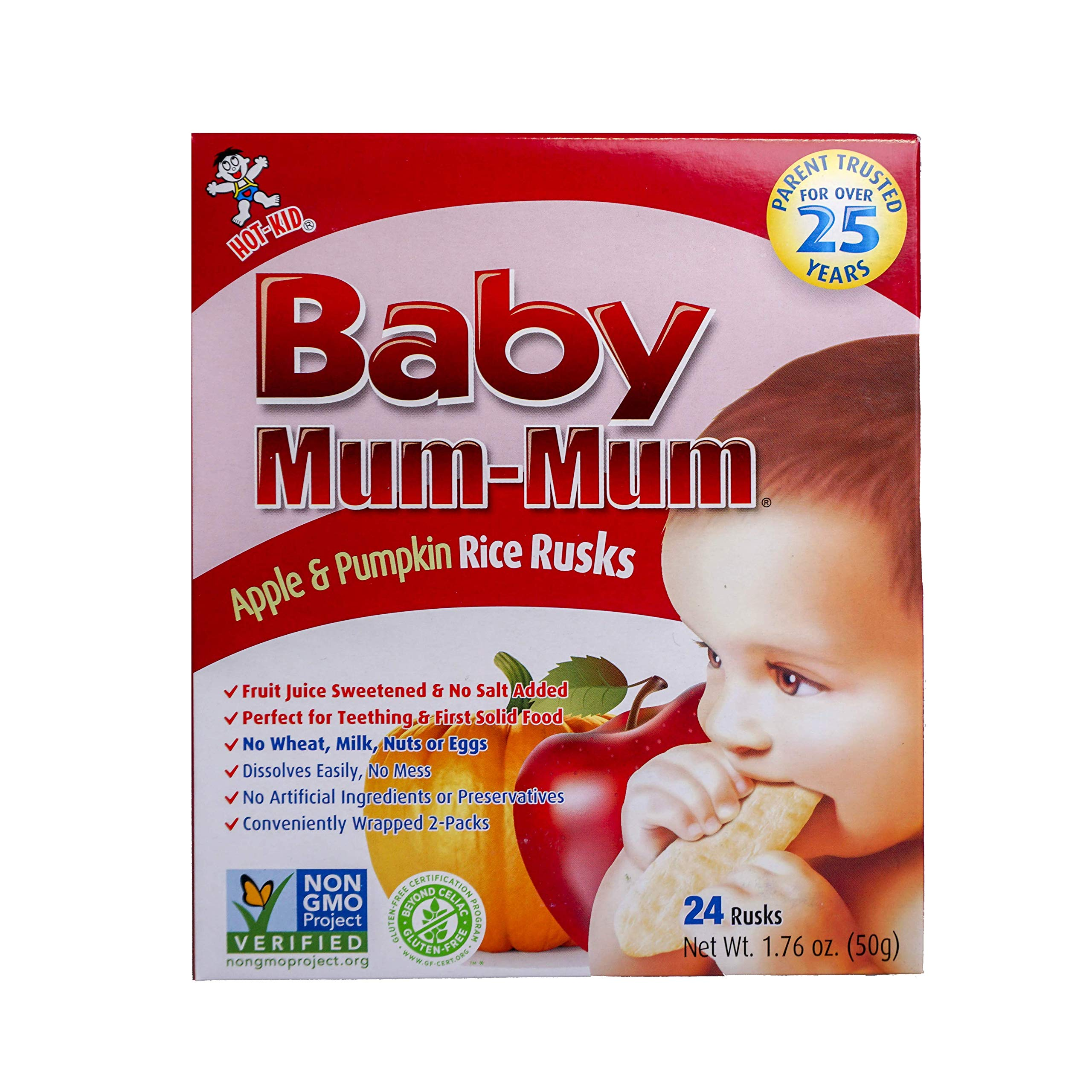 Hot-Kid Baby Mum-Mum Rice Rusks, Vegetable, 24 Pieces