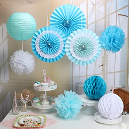 Party Decorations Baby Shower Set,RiscaWin Paper Fan,Tissue Paper Pom Poms  ,Paper