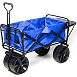 Collapsible Wagon Beach Cart, All-Terrain Wagon Foldable Cart Beach Wagon with Big Wheels for Sand, Garden Push Wagon, Shopping Cart for Groceries