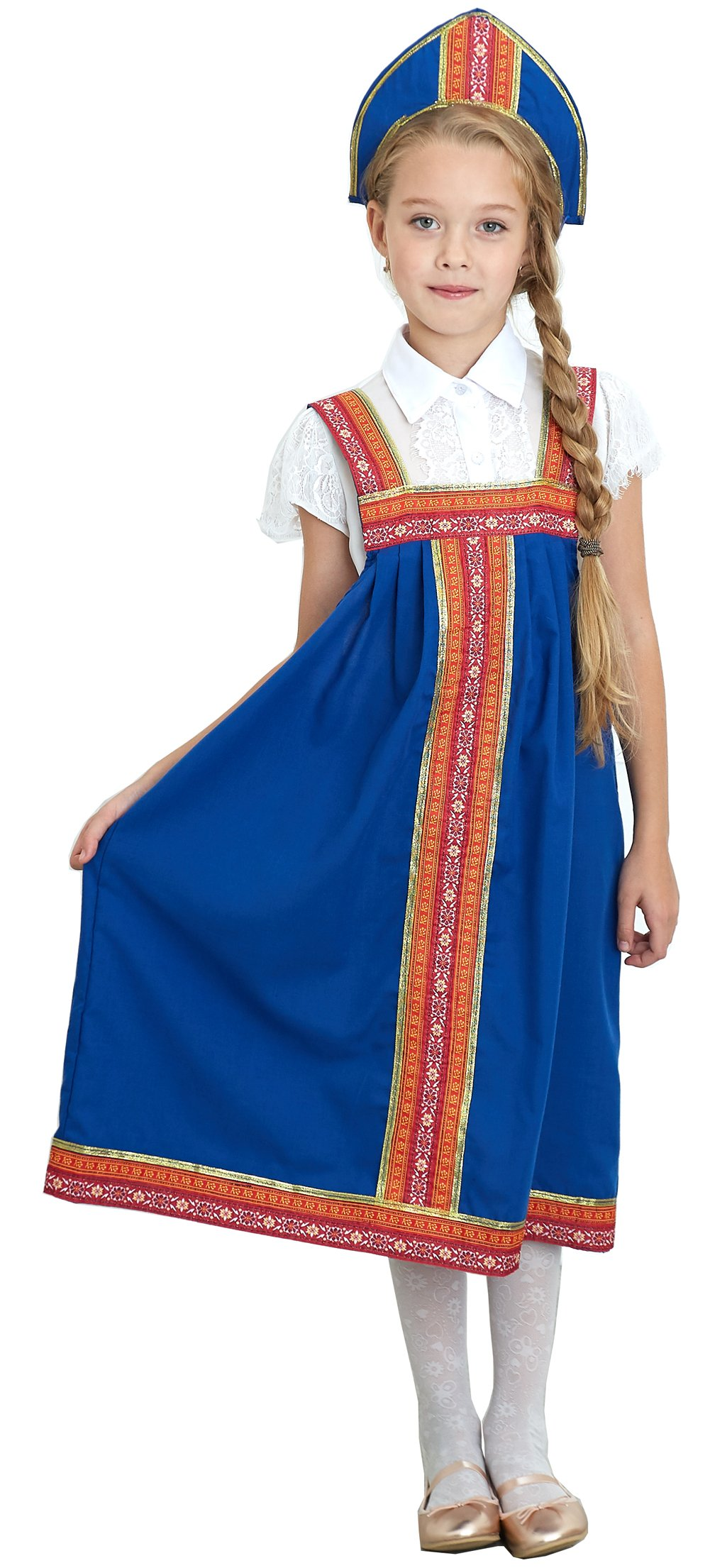 NATALIJA Russian Heritage Cosplay Girls Outfit Costume Dress,Blue,8-12 years-old