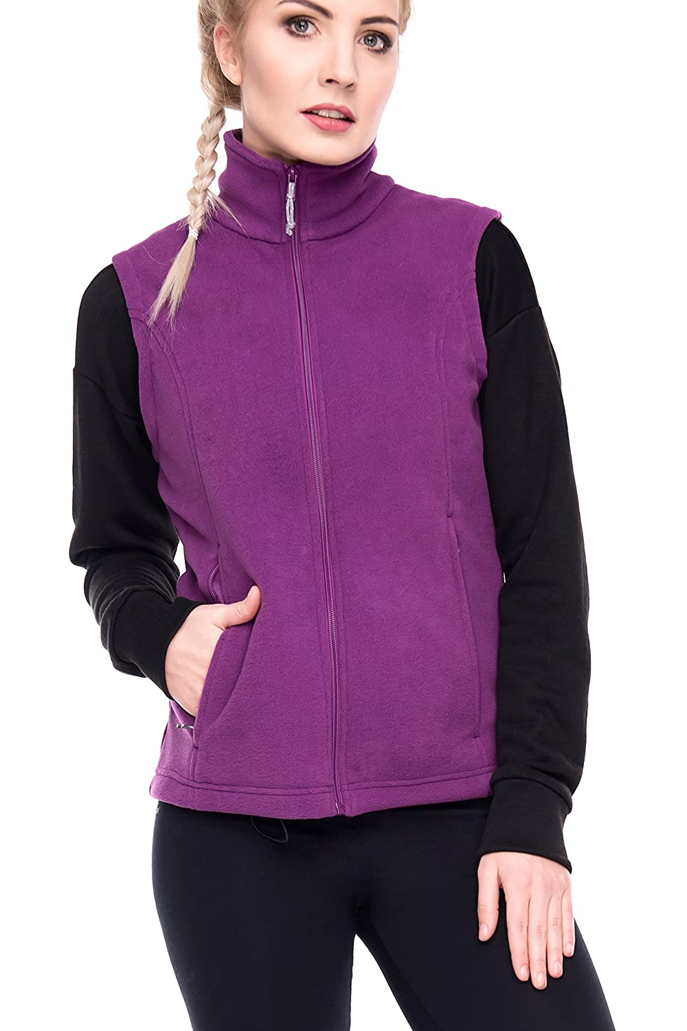 Oalka Women's Spring Fall Full Zip Fleece Vest MOKV069