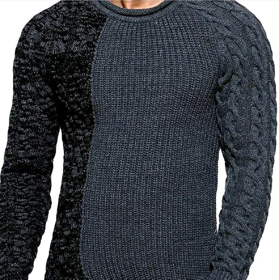 Abetteric Mens Marled Cable Woven Patched Plus Size Tshirt Sweater