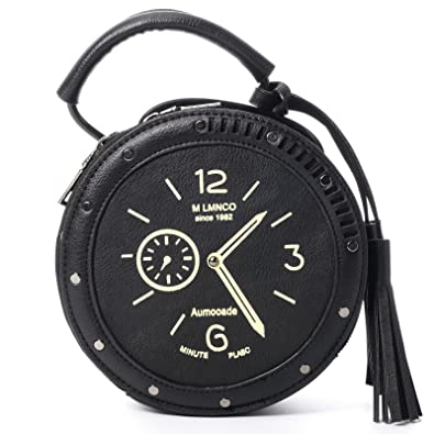 8dc275ab1092 QZUnique Women s PU Tassel Round Clock Shape Zippered Tote Handbag Cute  Satchel Cross Body Shoulder Bag