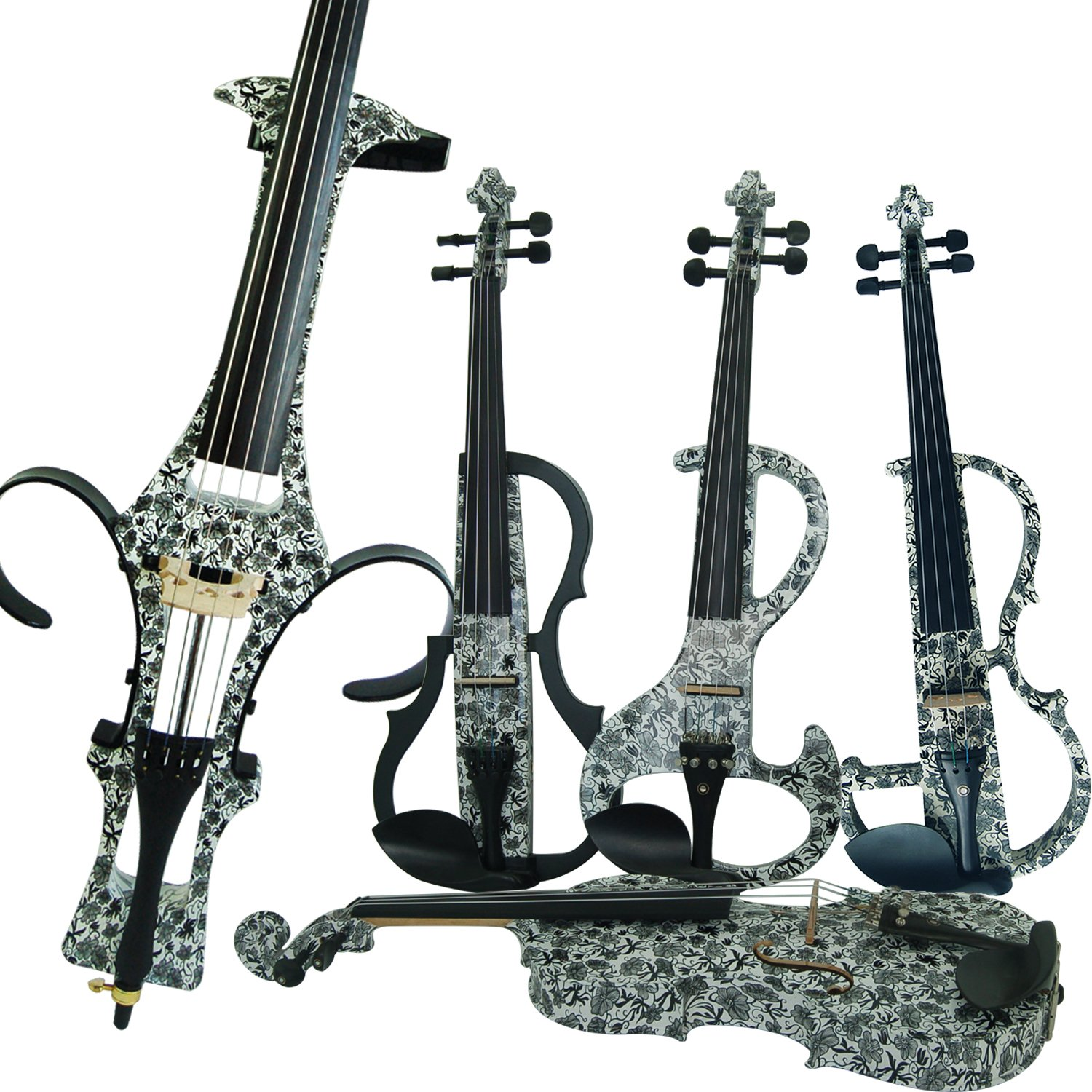 Leeche Premium 4/4 Full Size Solid Wood Electric Cello Violoncello Maple Solid Wood body Ebony Fittings with Bag, Bow, Rosin, Aux Cable, Earphone, Extra set of Strings(Art Black Flowers) by leeche