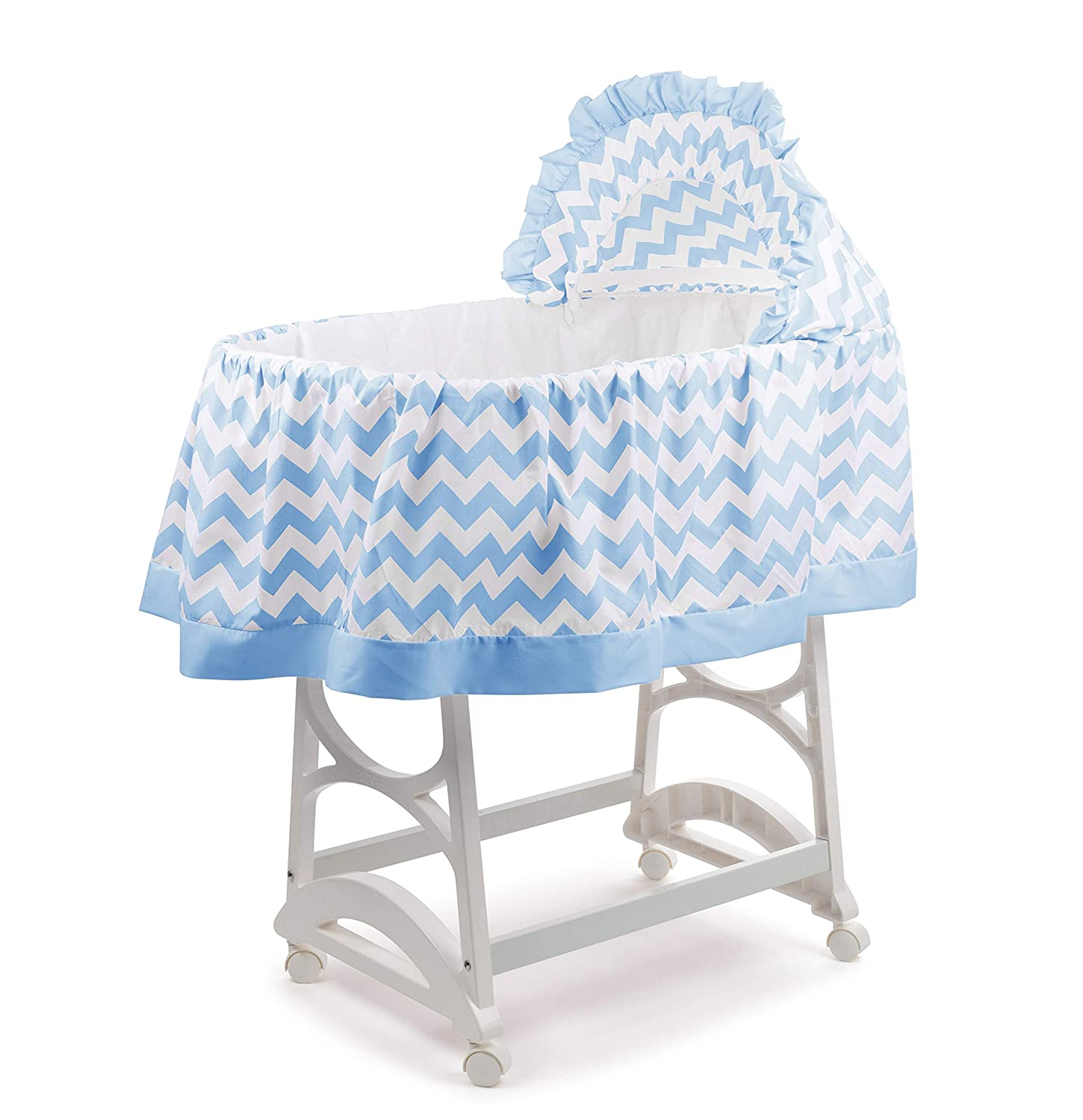 aBaby Chevron Short Bassinet Skirt, Blue, Small 009243422877