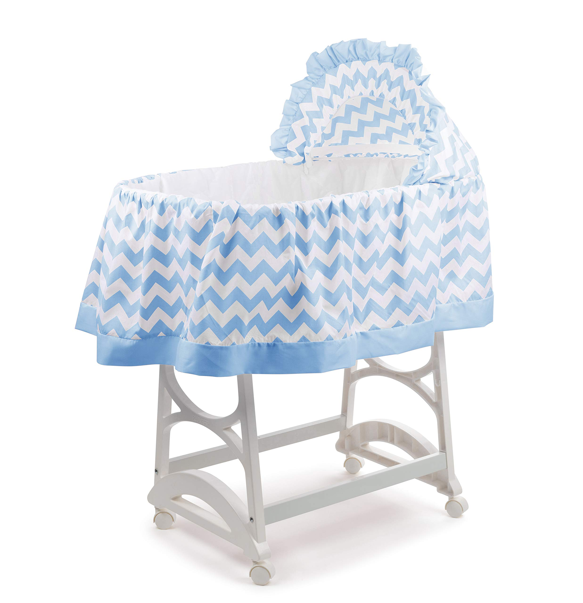 aBaby Chevron Short Bassinet Skirt, Blue, Small by Ababy