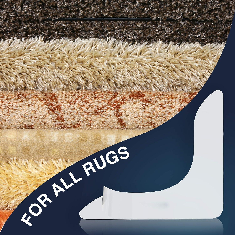 Curling Rug Gripper 4 pcs PARIKOZ Anti Carpet Gripper Keeps Rug in Place with Renewable Gripper Tape for Hardwood Laminate Linoleum Anti Slip Rug Pad Makes Corners Flat.