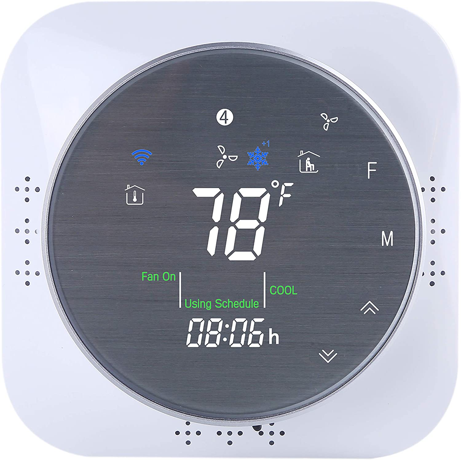 Updated Version Wifi Smart Thermostat with Touch Screen,Air Conditioner Thermostat with Frosted Display,Lockable,Real-time Local Meteorological Data,Compatible with Alexa,Google Assistant (BHT-6000)