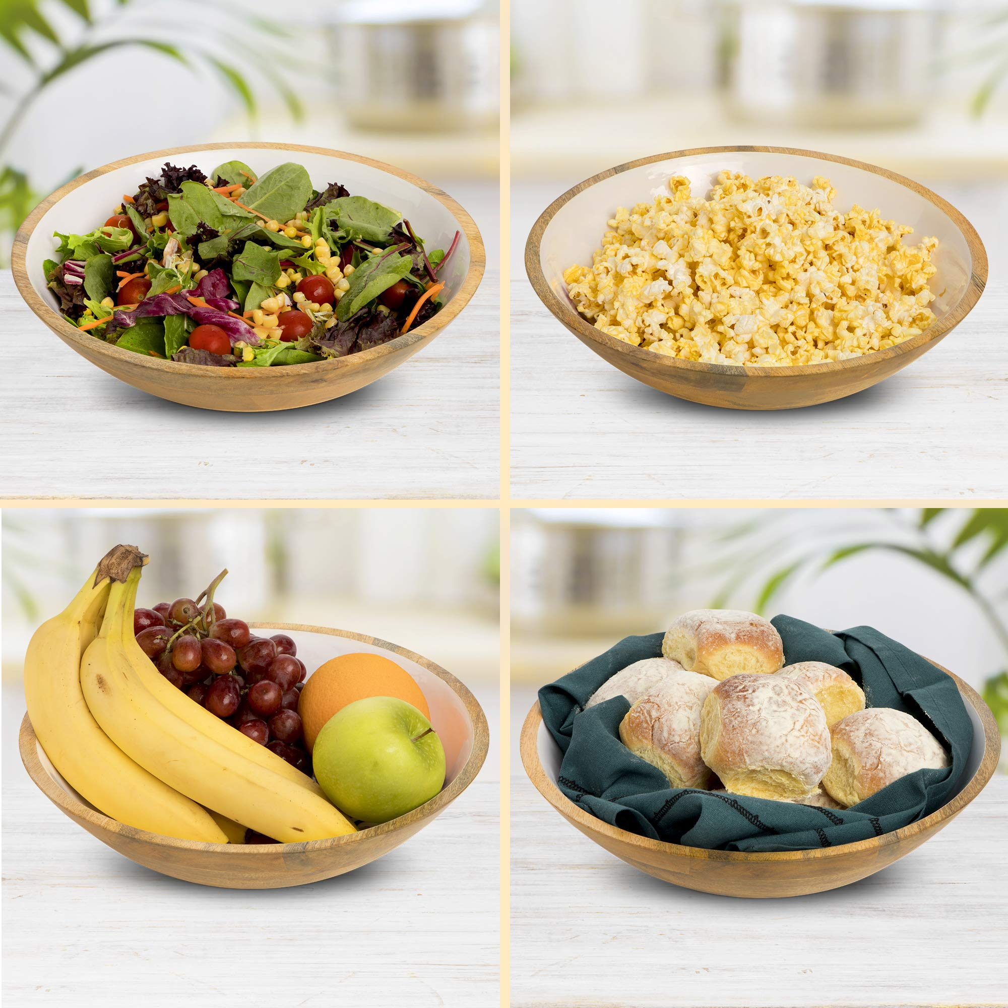 Wood Salad Bowl Set with Servers - Large 12 Inch Round Mango Wood Serving Bowl with Spoons for Soups, Fruit, Pasta, Caesar, Tossed, and Mixed Salads | Natural Mango Wood Serving Bowl Set by ELEETS COLLECTION (Image #4)