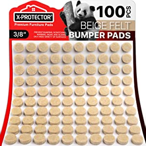 """Cabinet Door Bumpers X-Protector – Small Felt Pads 3/8"""" – 100 PCS Ideal Felt Bumpers – Self-Adhesive Thick Felt Dots – Bumper Pads to Protect Glass & Other Surfaces (Beige)!"""