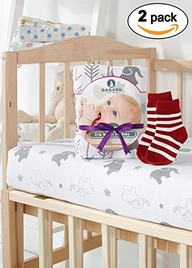 Crib Sheets - 2 Pack Organic Fitted Crib Sheet Set - For Baby Girl & Boy as Toddler, Infant - Jersey Cotton Mattress Covers for Bed - Elephants & Arrows Unisex Bedding Style - Nice Shower Gift