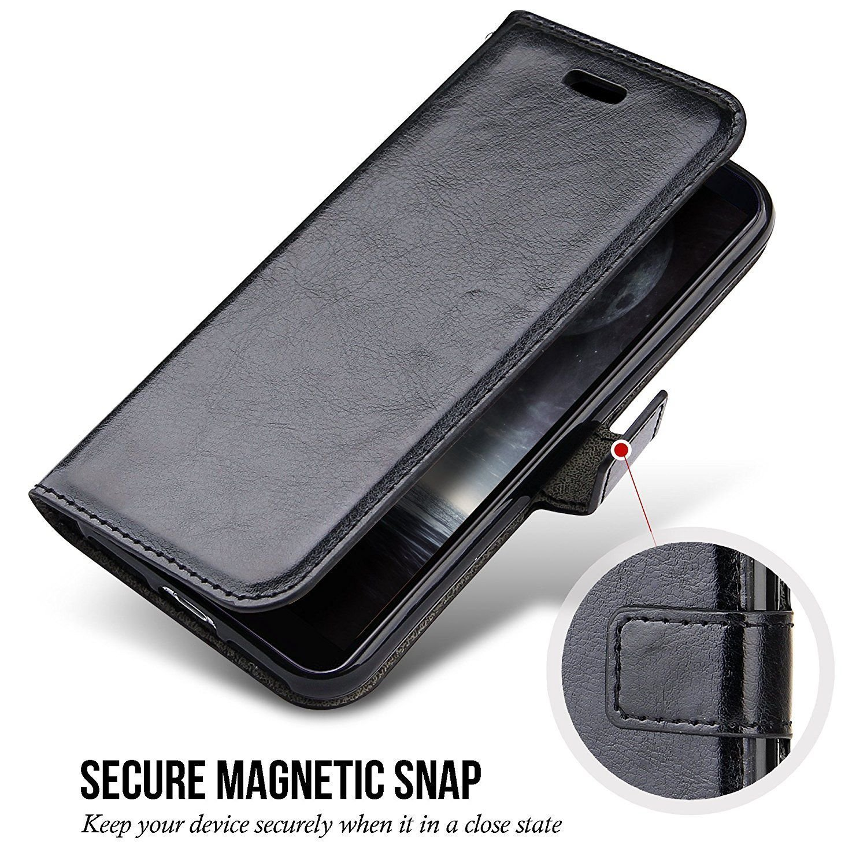 Samsung Galaxy S9 Plus Wallet Case, PRODELI Premium PU Leather Folio Flip Phone Case Cover Protective Wallet Pouch [Magnetic Clasp Closure] [ID Card & Cash Slot] [Folding Kickstand] (Black)