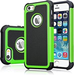 iPhone SE Case, iPhone 5S Cover, Jeylly Shock Absorbing Hard Plastic Outer + Rubber Silicone Inner Scratch Defender Bumper Rugged Hard Case Cover for Apple iPhone SE/5S - Green