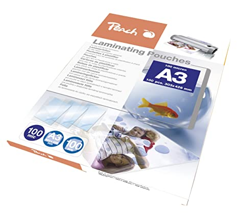 Amazon.com: Peach PP500 Laminating Pouches A3, Pack of 100 ...