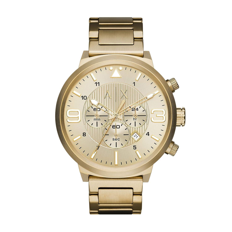 A X Armani Exchange Men s Brushed Goldtone Stainless Steel H Link Bracelet Watch