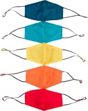 Kids Face Mask Reusable - 5 Pack Childrens Mask, Dual Layer Cotton Fabric with Wire Nose Bridge for a Sealed Fit…