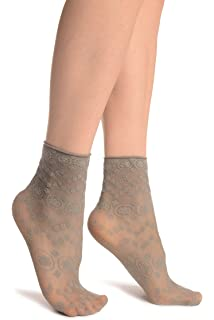 SA002188 Black Roses Lace With Comfort Top Ankle High Socks