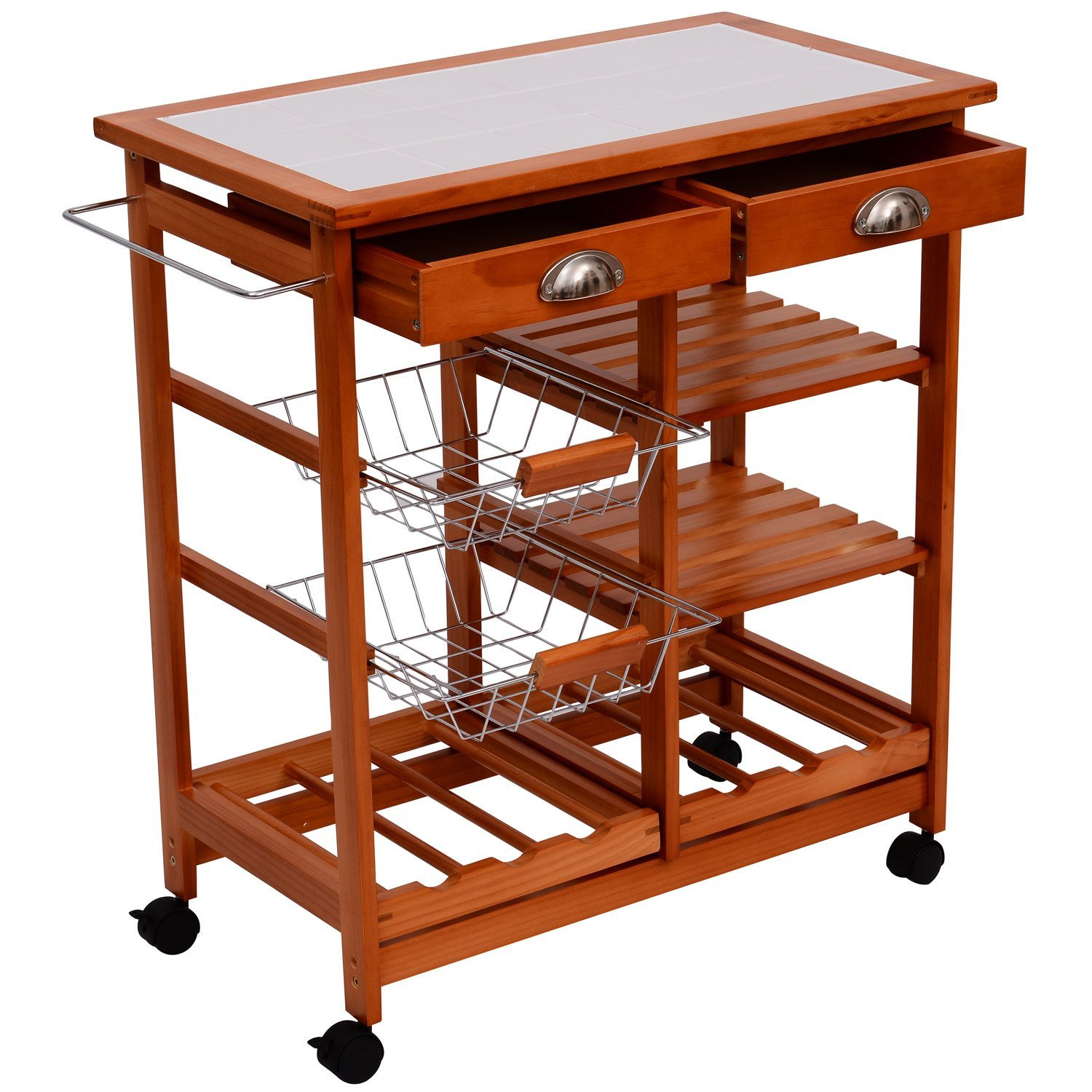 Granite Top Kitchen Trolley Amazoncom Homcom 29 Inch Portable Rolling Tile Top Kitchen