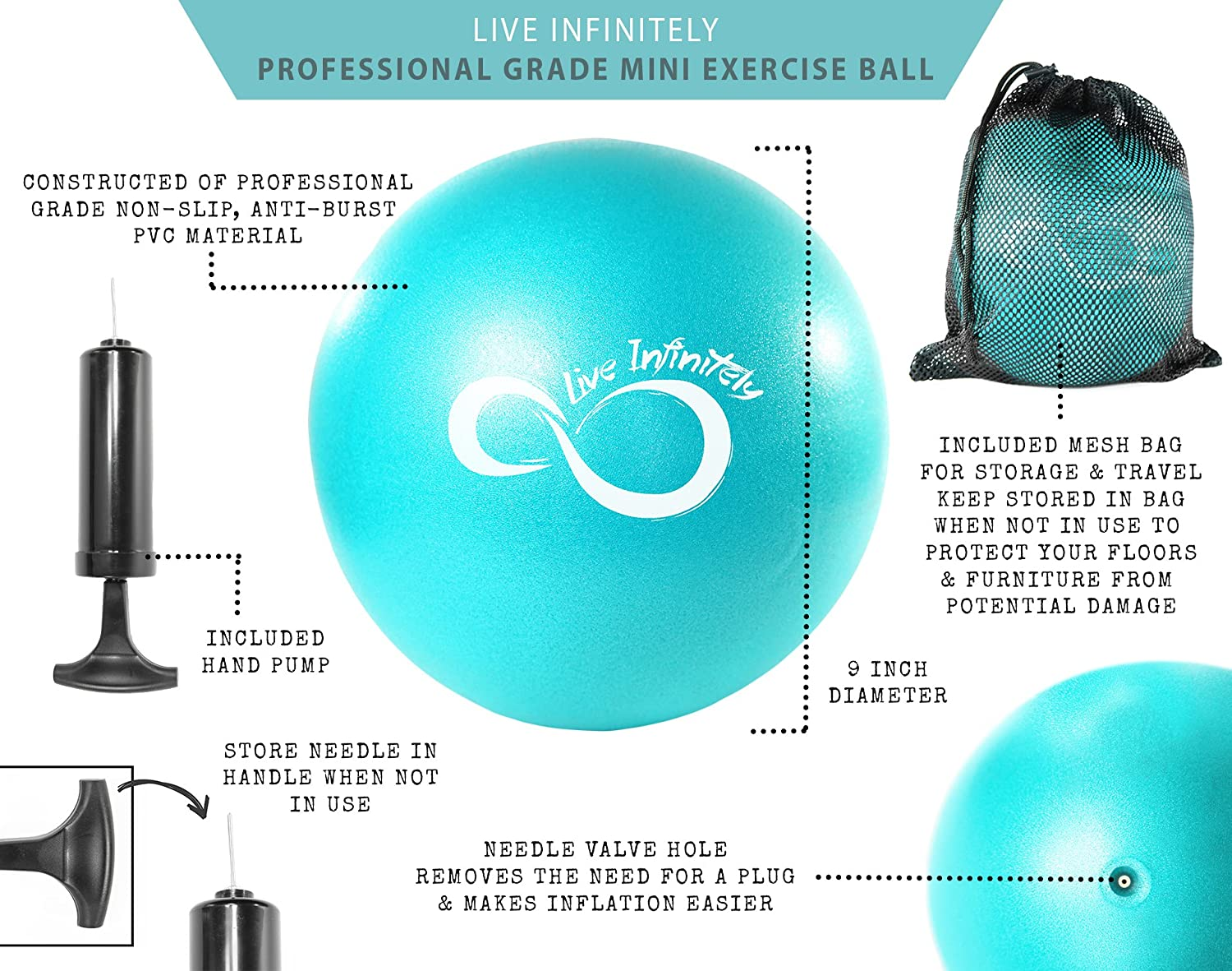 9 Inch Barre Pilates Ball Hand Pump Anti Burst Mini Ball Digital Workout eBook Included For Yoga, Exercise, Balance Stability Training Comes With Mesh Carrying Bag Self-Sealing Valve
