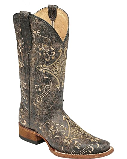 77d8d5a9635 Corral Boots Circle G Women Diamond Embroidered Black 6 M US Cowgirl Square  Toe