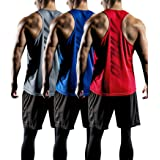 ATHLIO 3 Pack Men's Dry Fit Muscle Workout Tank Tops, Y-Back Bodybuilding Gym Shirts, Athletic Fitness Tank Top