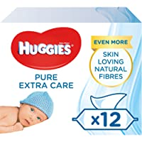 Huggies Baby Wipes, Pure Extra Care Sensitive Baby Wipes, Pack of 12 x 56