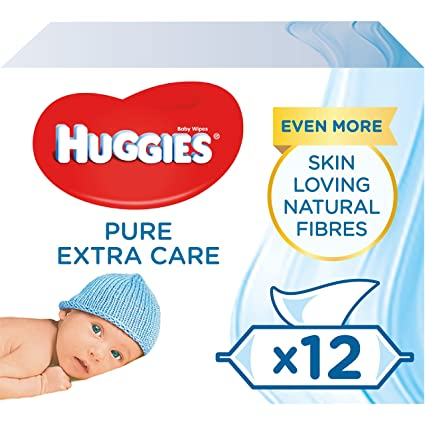 Huggies Pure Extra Care Baby Wipes, Pack of 12 x 56 sensitive baby wipes (