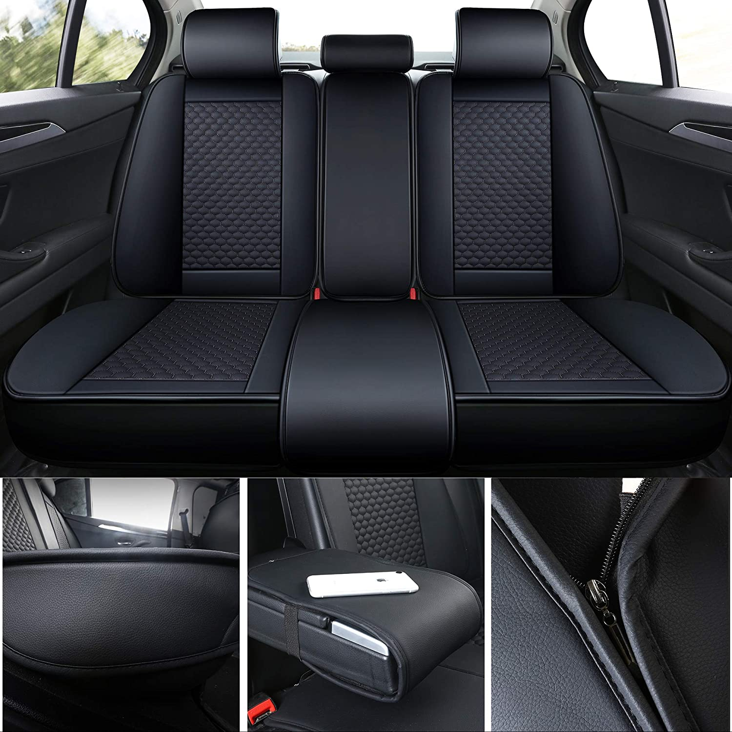 INCH EMPIRE Car Seat Cover-Football Liner Half Perforated Leatherette Cushion Fit for Accord Legacy Outback WRX Crosstrek Hybrid Tacoma FJ Cruiser RAV4 Corolla Matrix Venza Avalon 2 Front Black/&Red