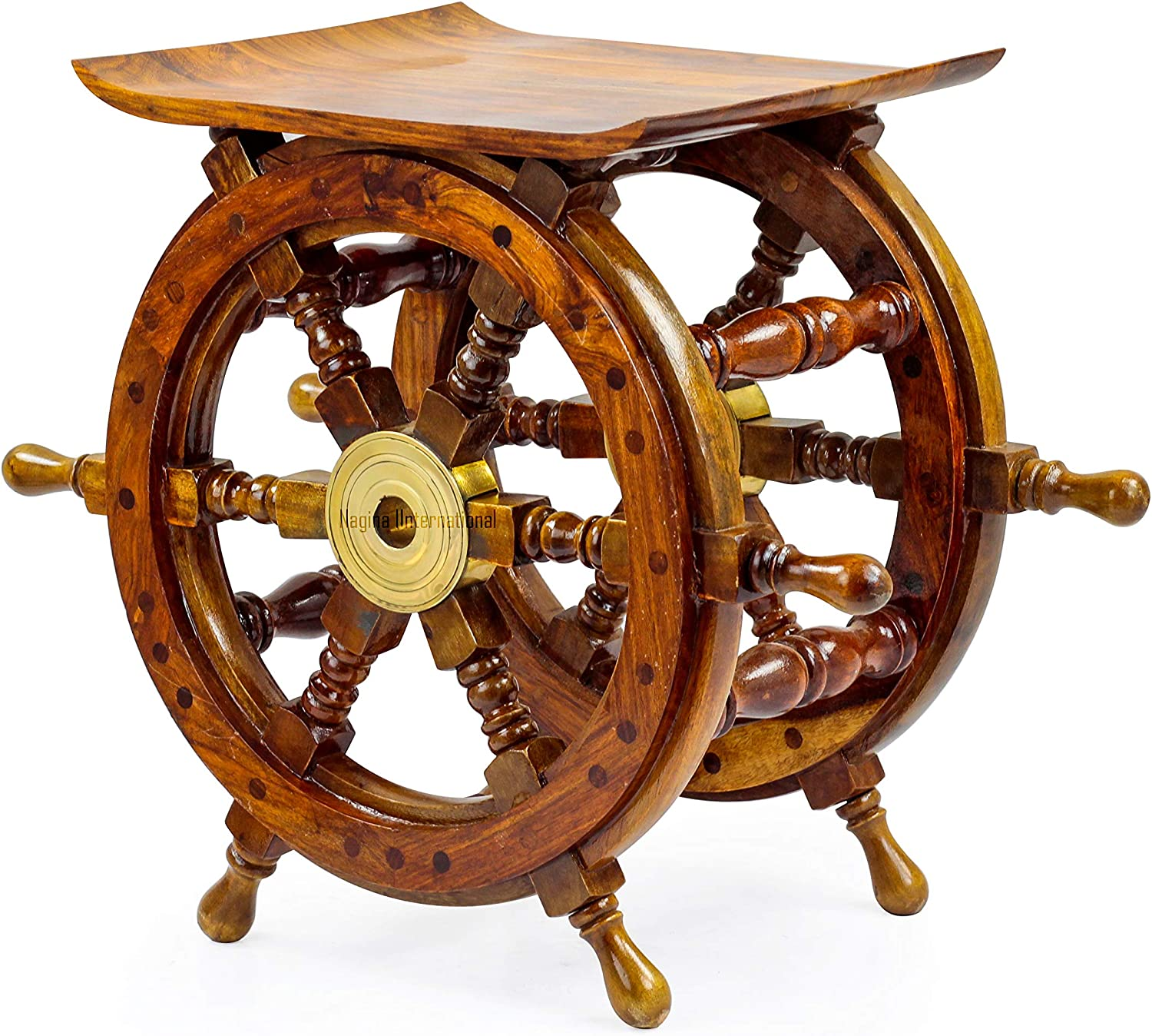Nagina International Wooden Ship Wheel Home Decor Table | Pirate's Antique Brass Hub Motiff (18 Inches)