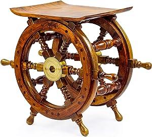 Nagina International Wooden Ship Wheel Home Decor Table | Pirate's Antique Brass Hub Motiff (18 Inches)