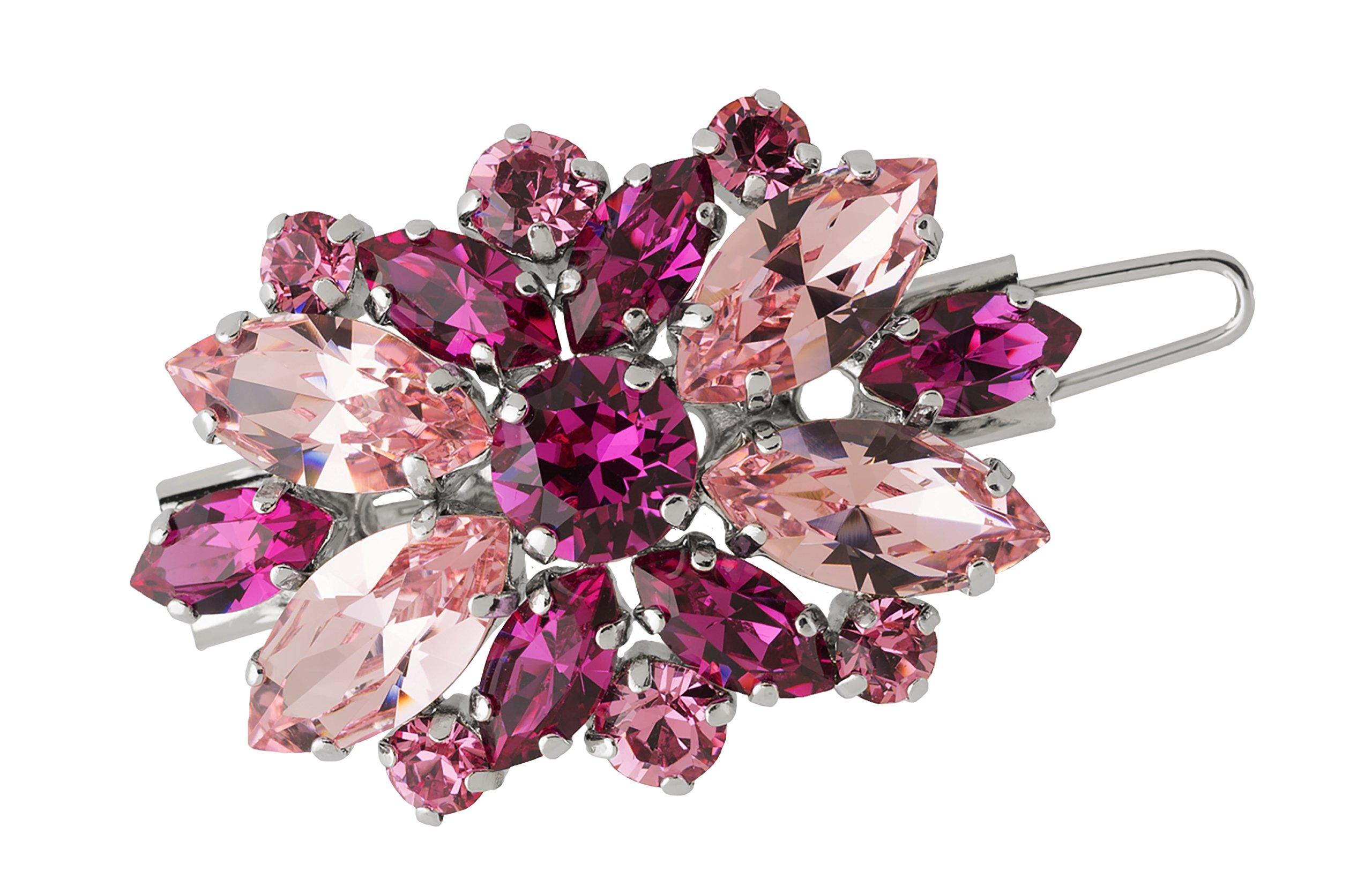 L. Erickson Countess Crystal Tige Boule Barrette - Light Rose/Fuchsia/Silver