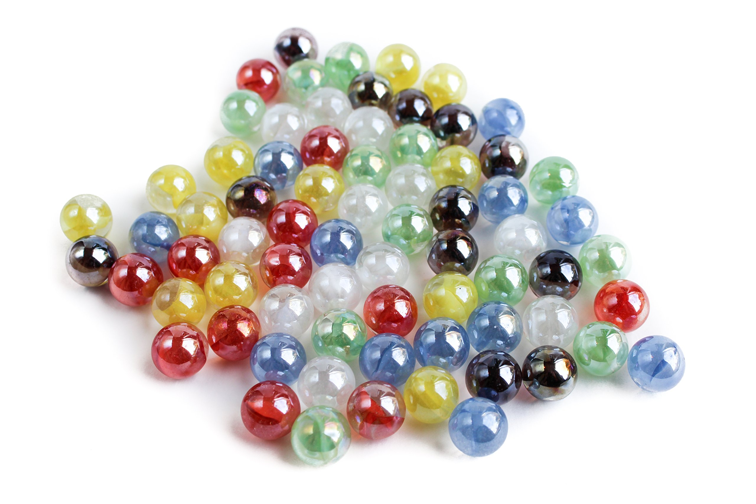 Omen Marble Co. Chinese Checkers Marbles, 60 Piece + Extras, Shimmer Cat's Eyes by Omen Marble Co. (Image #1)