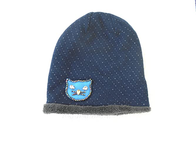 9b3d4e4a430 Amazon.com  Dark Blue Slouchy Beanie Hat with embellished and hand beaded  cat applique  Handmade
