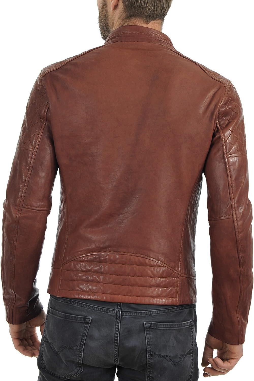 Mens Stylish Lambskin Genuine Leather Motorcycle Biker Jacket 16